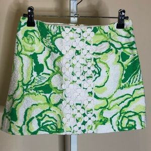 Lilly Pulitzer green floral mini skirt (00)